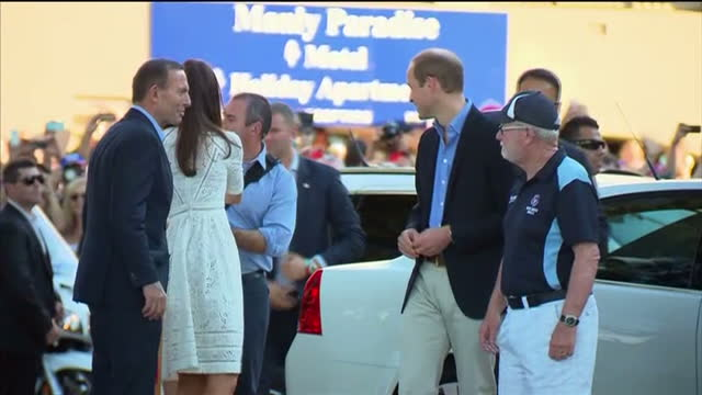 MANLY exterior shots Prince William Duke of Cambridge and Catherine Duchess of Cambridge get out of car and shake hands with welcoming party and walk...