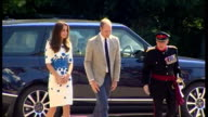Exterior shots Prince William Duke of Cambridge and Catherine Duchess of Cambridge arrive and greet officials on visit to Keech Hospice Care on...