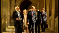 Exterior shots Prince William Duke of Cambridge being shown around grounds of St John's College by Professor Christopher Dobson on October 15 2015 in...