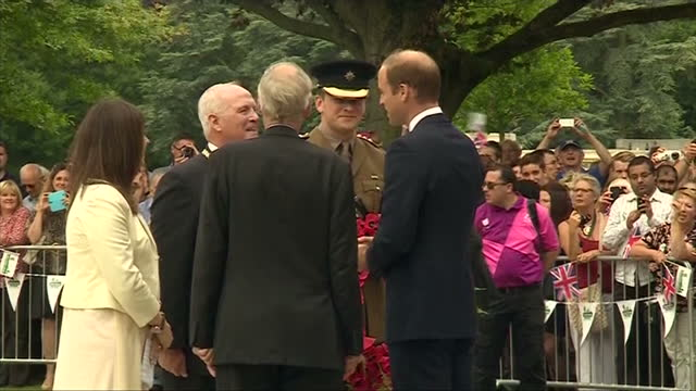 Exterior shots Prince William meeting dignitaries at Coventry War Memorial Park on July 16 2014 in Coventry England