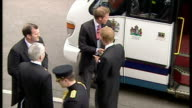 Exterior shots Prince William Prince Harry and Zara Phillips get off bus arrival on 9th April 2005 Windsor England