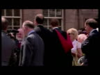 Exterior shots Prince William walkabout in graduation gown meeting and greeting members of the public and being congratulated after graduation Prince...