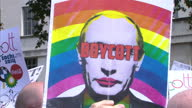 Exterior shots protesters gathered in Central London over new antigay laws in Russia LGBT Protesters gathered in Central London on August 10 2013 in...