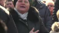 Exterior shots protesters singing national anthem on February 21 2014 in Kiev Ukraine