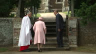 Exterior shots Queen Elizabeth II and Prince Philip Duke of Edinburgh arr at Church of St Mary Magdalene for christening of Princess Charlotte of...