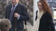Exterior shots Rebekah Brooks and Charlie Brooks arrive at court on February 26 2014 in London England