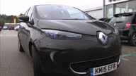 Exterior shots Renault Zoe electric car parked outside car showroom on January 25 2016 in London England