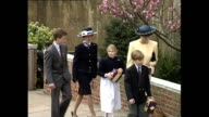 CLEAN Exterior shots royal family leave chuch after Easter service Queen Queen Mother Prince Philip Princess Margaret Princes Harry William Sarah...