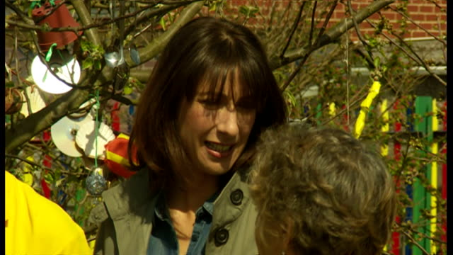 Exterior shots Samantha Cameron SamCam wife of David Cameron being shown around Growing Zone Project garden on April 22 2015 in Kippax England