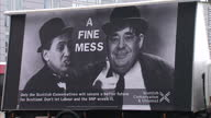 Exterior shots Scottish Conservatives and Unionist election campaign poster 'A Fine Mess' showing Alex Salmond and Ed Miliband as Laurel and Hardy on...