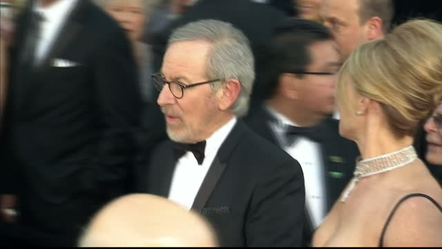 Exterior shots Steven Spielberg his wife Kate Capshaw walk along the red carpet Steven Spielberg Kate Capshaw at Dolby Theatre on February 25 2013 in...