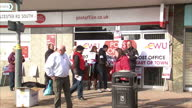 Exterior shots striking post office workers picketing outside post office branch in Birmingham Post Office Workers Out on Strike on March 30 2013 in...