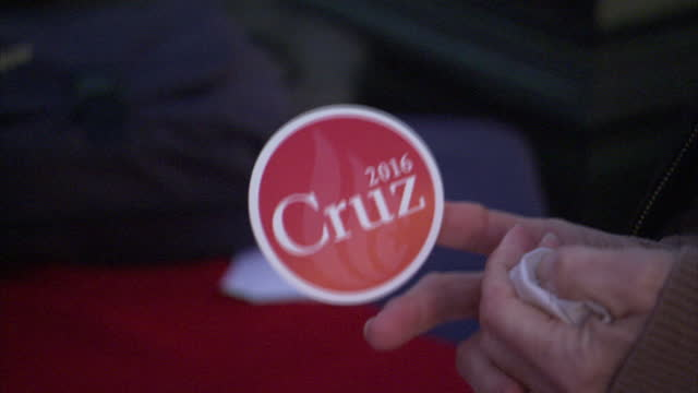 Exterior shots supporters arriving for rally being held by Republican Presidential candidate Ted Cruz Supporters giving their details and receiving...
