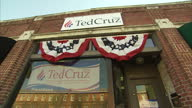 Exterior shots Ted Cruz 2016 campaign office with banners hanging from above windows and images of Ted Cruz on January 13 2016 in Columbia South...