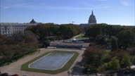 Exterior shots The Capitol Building with American flag flying from the building and the Senate Fountain on November 10 2016 in Washington DC