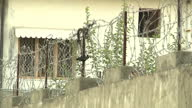 Exterior shots the compound in Abbottbad where Osama Bin Laden was found by US Special Forces showing high walls barbed wire security measures Osama...