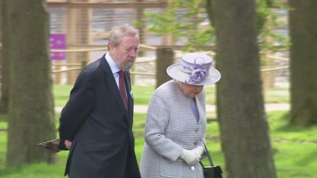 Exterior shots The Queen and Prince Philip arrive and take seats on the stage on 7 April in Dunstable United Kingdom