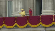 Exterior shots the Queen Prince Philip lead out the entire Royal family on Buckingham Palace balcony including the Duke Duchess of Cambridge Charles...