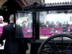 exterior shots Tia Rigg's pink coffin being carried into church by pallbearers Mourners at the funeral of a 12yearold girl who was stabbed and...