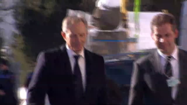 Exterior shots Tony Blair arrives at World Economic Forum in Davos
