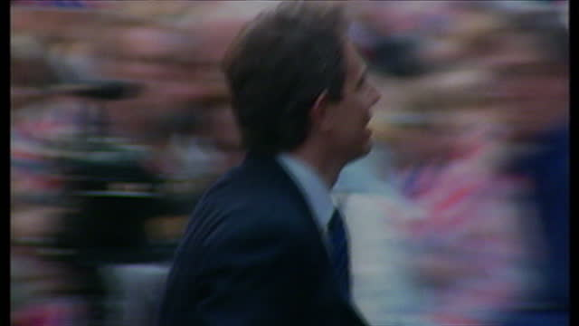 Exterior shots Tony Blair Cherie Blair shaking hands with supporters on May 2nd 1997 in London United Kingdom