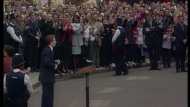 Exterior shots Tony Blair finishing his first speech outside Downing St to rapturous applause on May 2nd 1997 in London United Kingdom