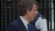 Exterior shots Tony Blair giving speech outside No 10 tells the people they were elected as New Labour shall govern as New Labour on May 2nd 1997 in...
