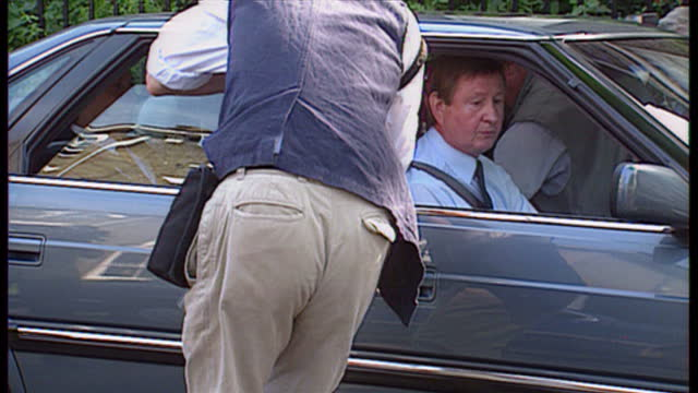 Exterior shots Tony Blair leaving his home getting into car to be driven off on August 5th 1994 in UNSPECIFIED United Kingdom