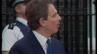 Exterior shots Tony Blair speech stating education shall be for all of their duty to modernise the NHS on May 2nd 1997 in London United Kingdom