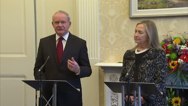 Exterior shots US Secretary of State Hillary Clinton is welcomed to Stormont by Peter Robinson Martin McGuinness Interior press conference Hillary...