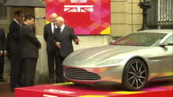 Exterior shots Xi Jinping Chinese President and Prince William Duke of Cambridge viewing the Aston Martin DB10 at 'Creative Collaborations UK China'...