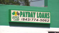 Exterior signage around Dillon South Carolina advertising various payday loan businesseson October 24 2012 in Dillon South Carolina