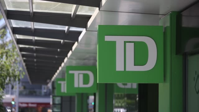 Exterior signage of a TD Canada Trust location close ups in Vancouver Canada on August 28 2017 Photographer Ben Nelms Shots CU of TD logo on side of...