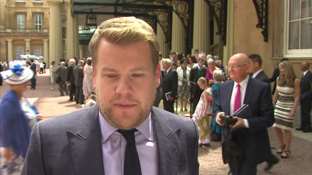 Exterior soundbite with actor James Corden speaking about feeling 'overwhelmed' to have been honoured with an OBE for services to Drama>> on June 25...