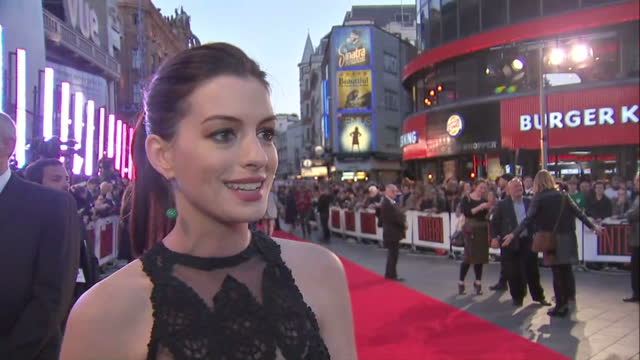 Exterior soundbite with Anne Hathaway speaking about working with Robert De Niro on The Intern>> on September 27 2015 in London England