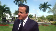 Exterior soundbite with British Prime Minister David Cameron speaking about the reasons for his visit to Jamaica saying that he wants to continue to...