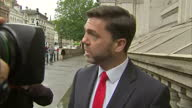 Exterior soundbite with Stephen Crabb Work and Pensions Secretary speaking to reporters about the need to find a replacement for David Cameron after...