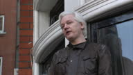 Exterior speech by Julian Assange on the Balcony of the Ecuadorian embassy on 19th May London England