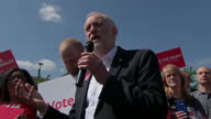 Exterior speech by Labour Party Leader Jeremy Corbyn MP on 9th May 2017 Salford England