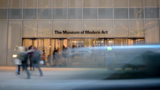 Exterior time lapse shots of the Museum of Modnern Art in New York NY