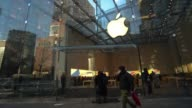 Exterior time lapses of an Apple Store in New York City on January 23 Time lapses of the glass façade as people pass by Apple NYC Store Exterior Time...