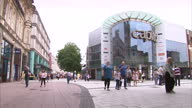 Exterior timelapse shot of people walking through a pedestrianised shopping area of Cardiff>> on August 08 2014 in Cardiff Wales