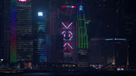 Exterior timelapse shots of Hong Kong's city skyline as night falls and the lights of the skyscrapers turn on over the harbour on September 20 2015...