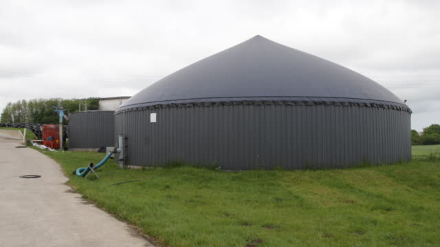 Exterior view of the memory of a biogas plant in northern Germany in Schleswig Holstein
