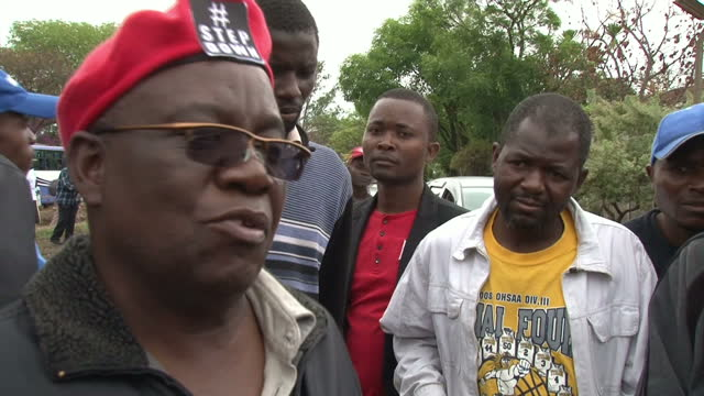 Exterior vox pop soundbites with people taking part in antiMugabe protests speaking about how they are excited and thankful that the Zimbabwe...