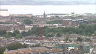 Exterior wide shots of Edinburgh city centre and Cramond Island in the Firth of Forth and Leith docks in the distance on September 2 2014 in...