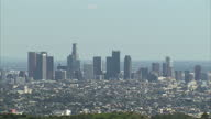 Exterior wide shots of Los Angeles' skyline on a clear fine day including skyscrapers of the central business district on January 28 2015 in Los...
