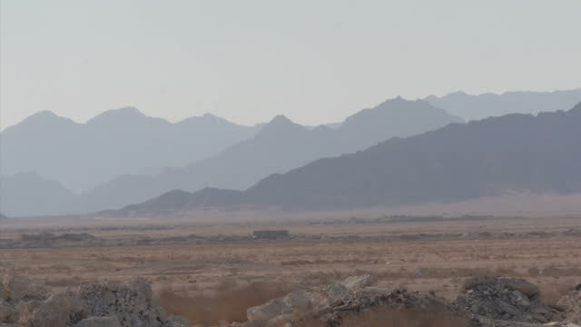 Exterior wide shots of mountains in South Sinai peninsula and buildings in the middle of the desert on November 8 2014 in Egypt