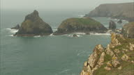 Exterior wide shots of Polurrian Bay beaches cliffs on March 16 2015 in Cornwall England