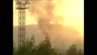 Exterior wide shots of smoke billowing in Sarajevo skyline and sounds of heavy shelling explosions going off in June 1992 in Sarajevo Bosnia and...